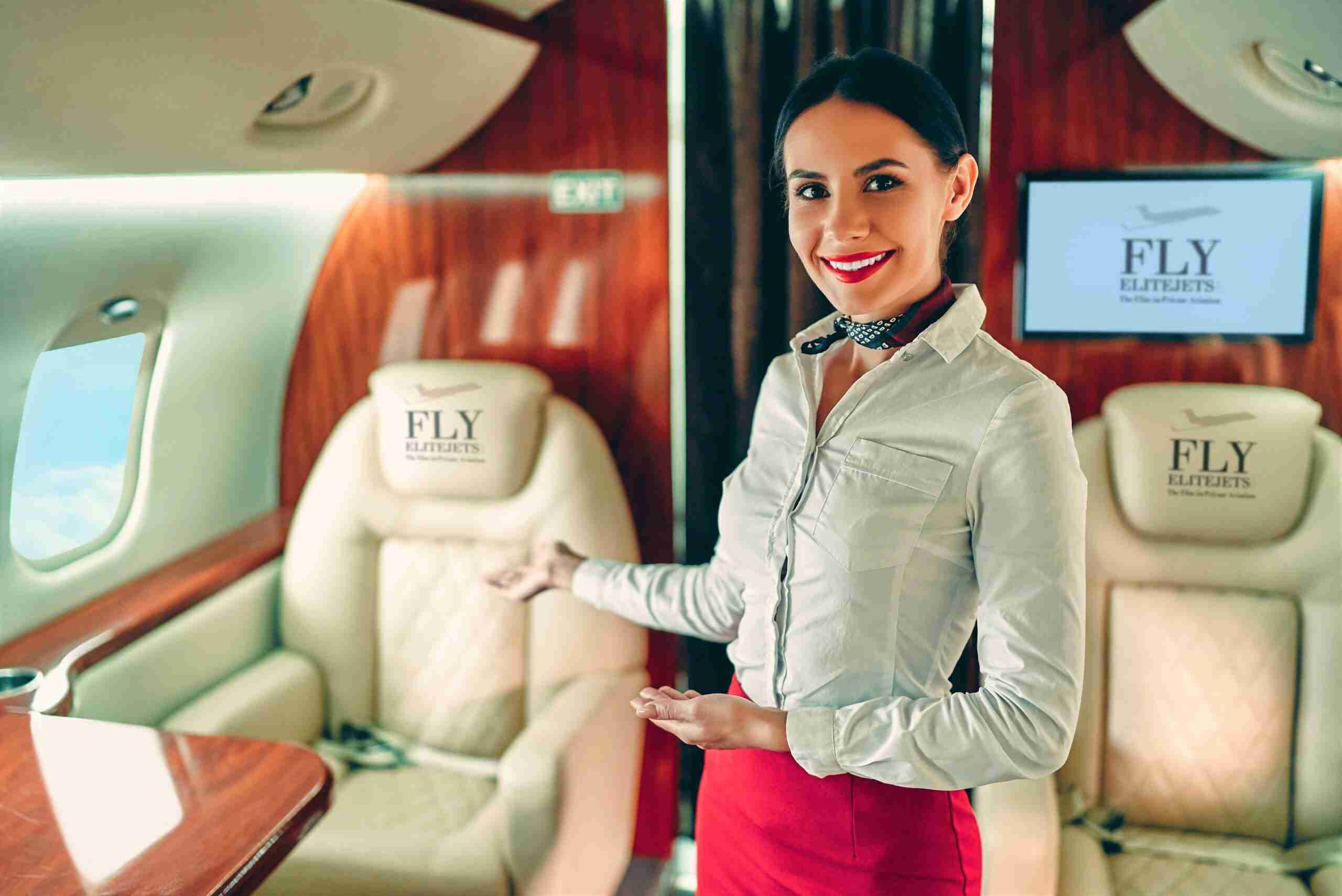FlyEliteJets stewardess welcome